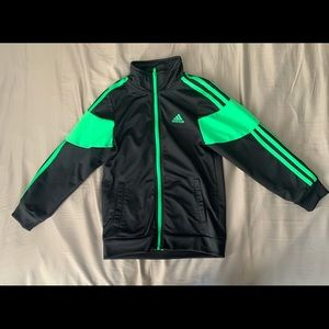 Like NEW! Adidas black and neon green track suit.